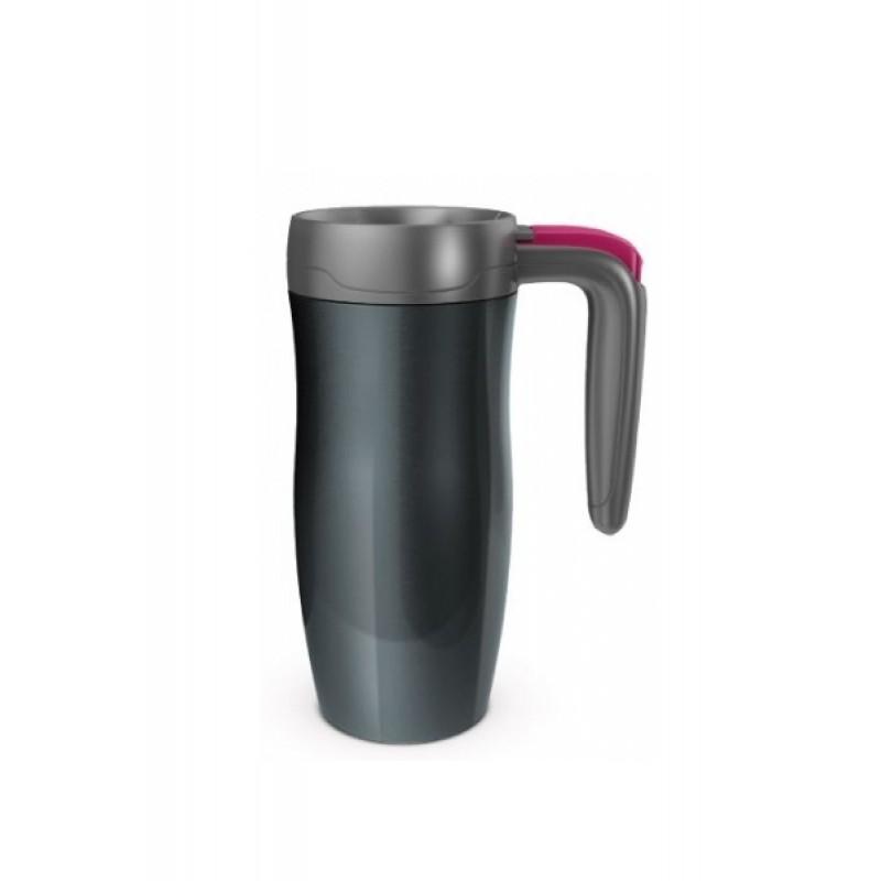 Randolph Stainless Handled travel mug (gunmetal/red) (470ml)