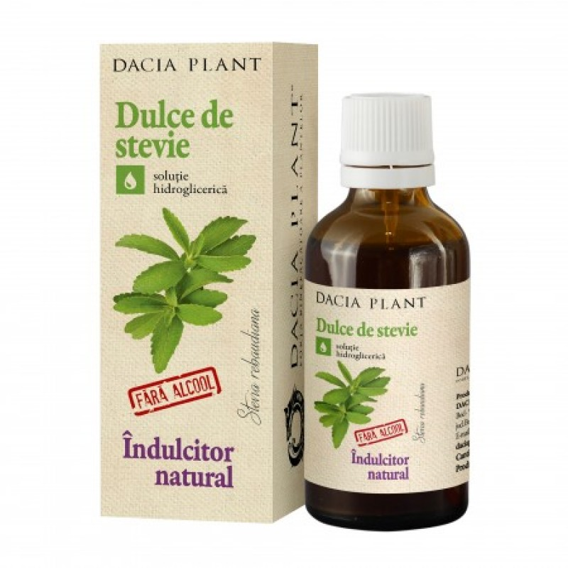 Dulce de Stevie inlocuitor de zahar tinctura fara alcool (50 ml), Dacia Plant