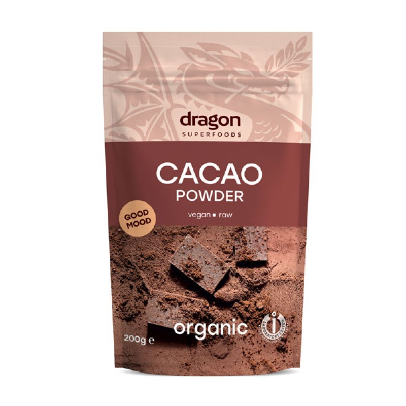Cacao pudra raw bio (200g), Dragon Superfoods