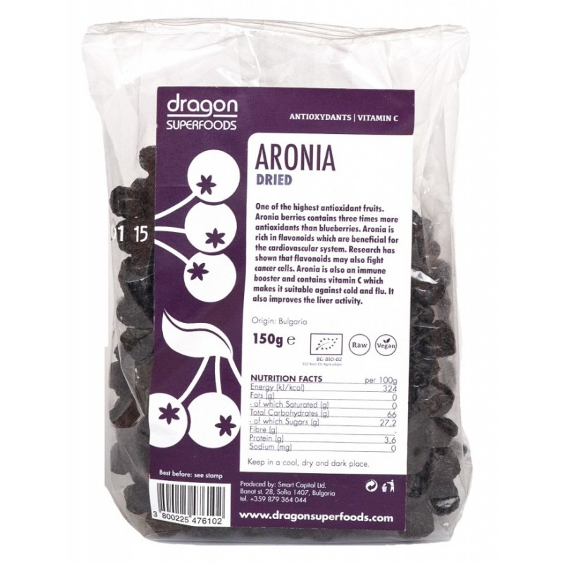 Aronia fructe uscate raw bio (150g), Dragon Superfoods