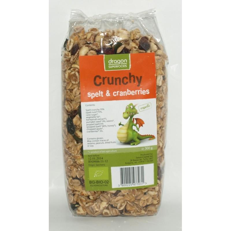 Crunchy cu spelta si merisor bio (300g), Dragon Superfoods