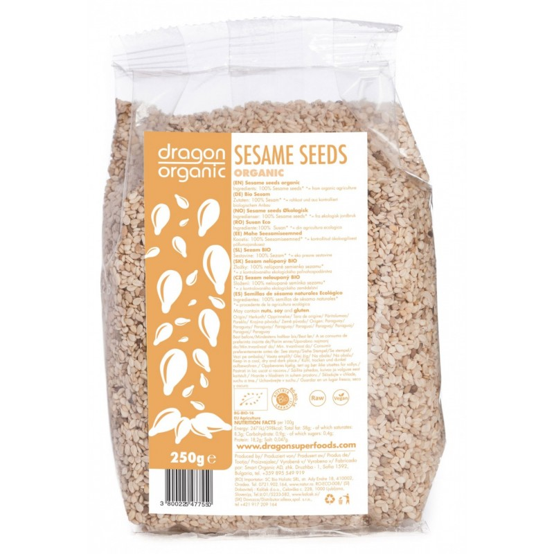 Seminte de susan integral raw bio (250g), Dragon Superfoods