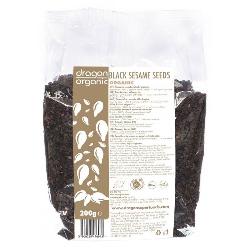 Seminte de susan negru raw bio (200g), Dragon Superfoods
