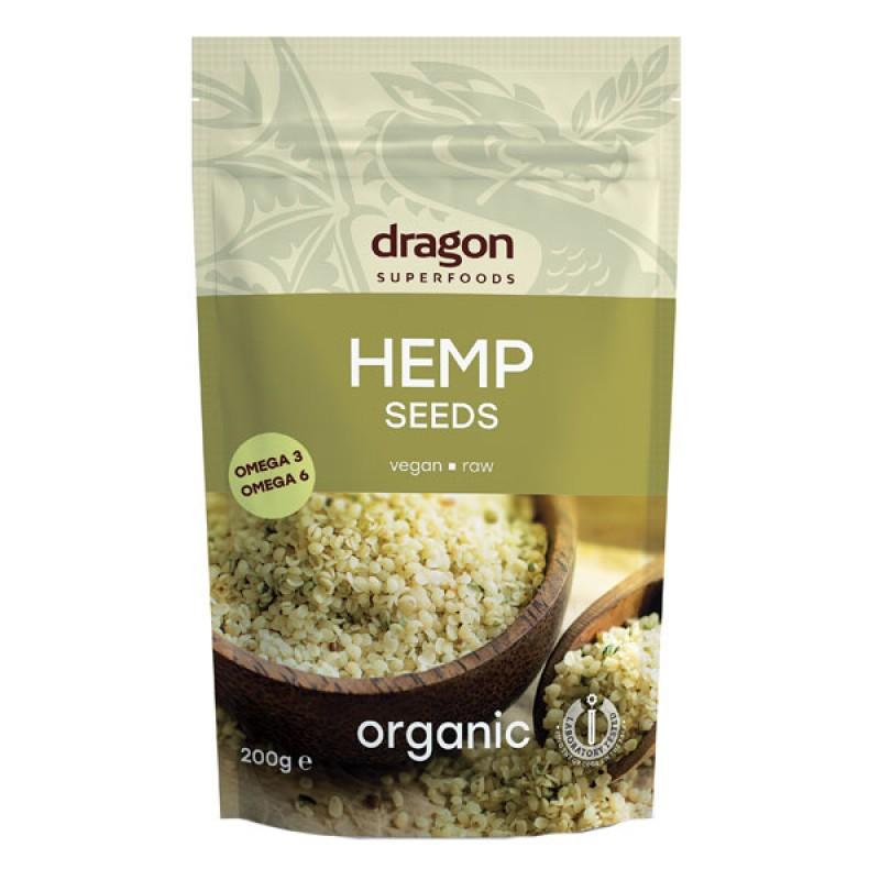 Seminte de canepa decorticate raw bio (200g), Dragon Superfoods