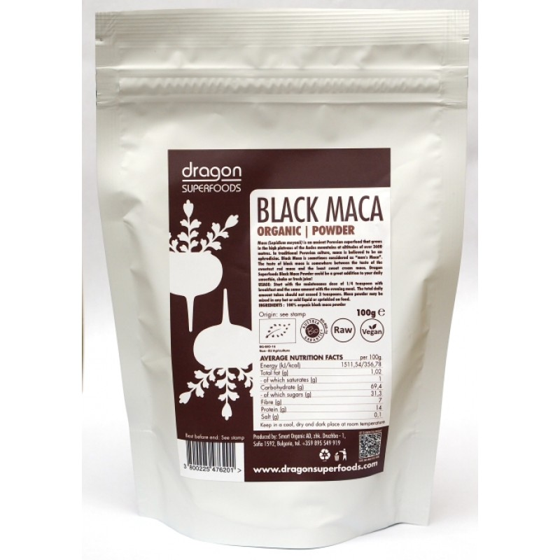 Maca neagra pudra raw bio (100 grame), Dragon Superfoods