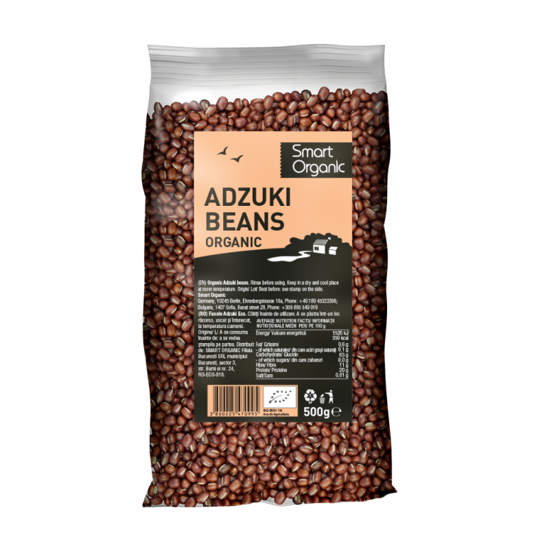 Fasole Azuki bio (500g), Smart Organic