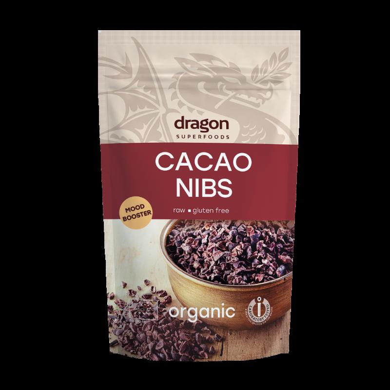 Miez din boabe de cacao criollo bio (200g), Dragon Superfoods