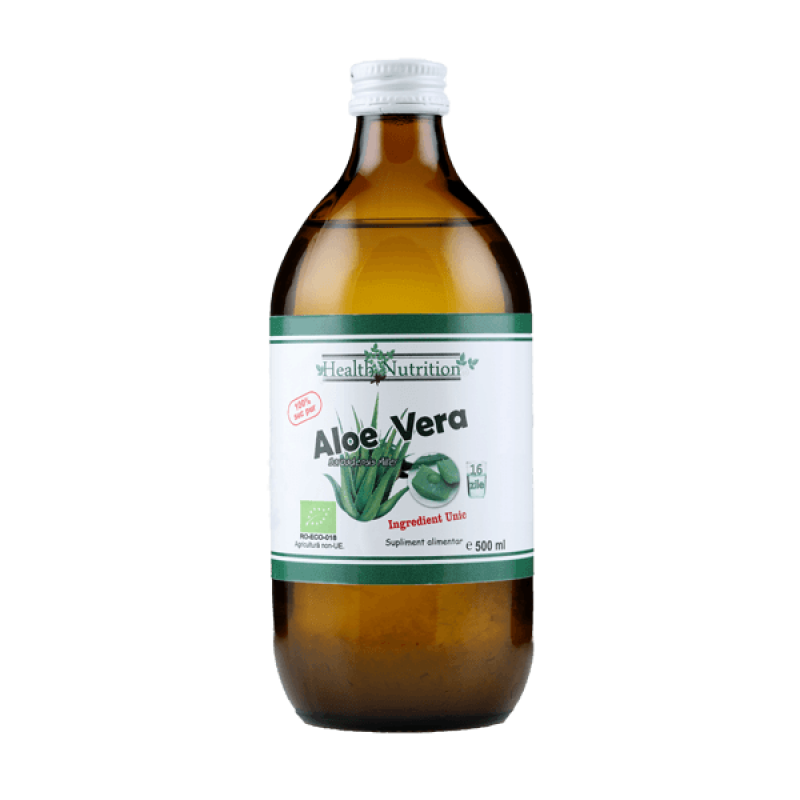 Suc Aloe cu micropulpa 100% pur, Bio (500 ml), Health Nutrition