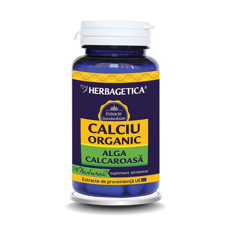 Calciu Organic alga calcaroasa (60 capsule), Herbagetica