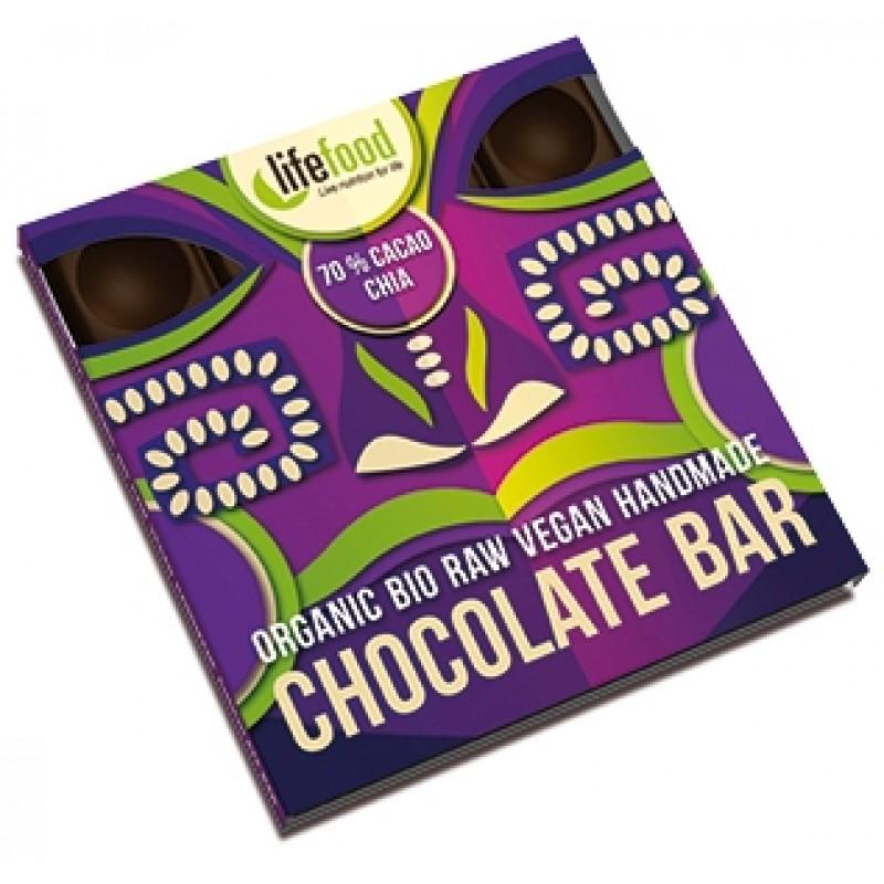 Ciocolata cu 70% cacao si chia raw bio (35 grame), Lifefood