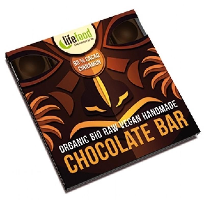 Ciocolata cu 95% cacao si scortisoara raw bio (35 grame), Lifefood