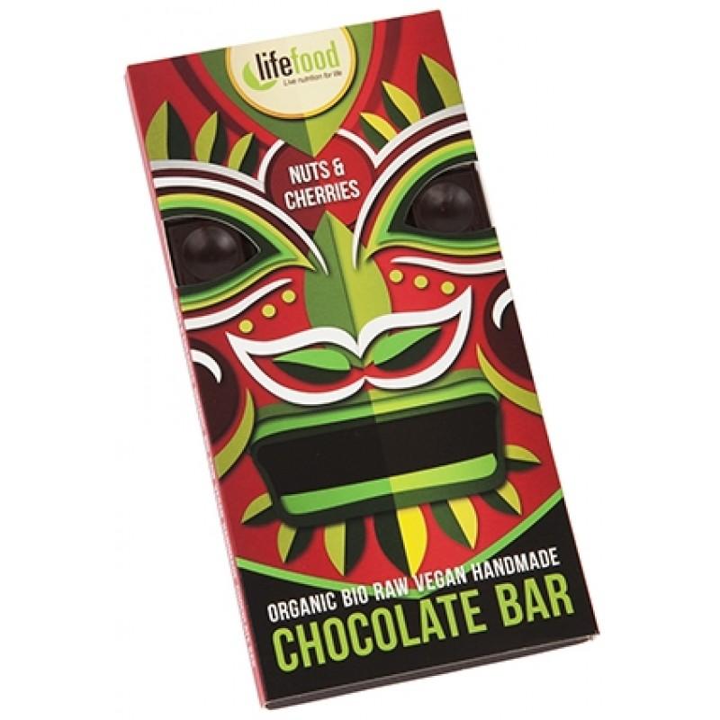 Ciocolata cu cirese si nuci raw bio (70 grame), Lifefood