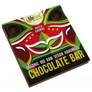 Ciocolata cu nuci si cirese raw bio (35 grame), Lifefood