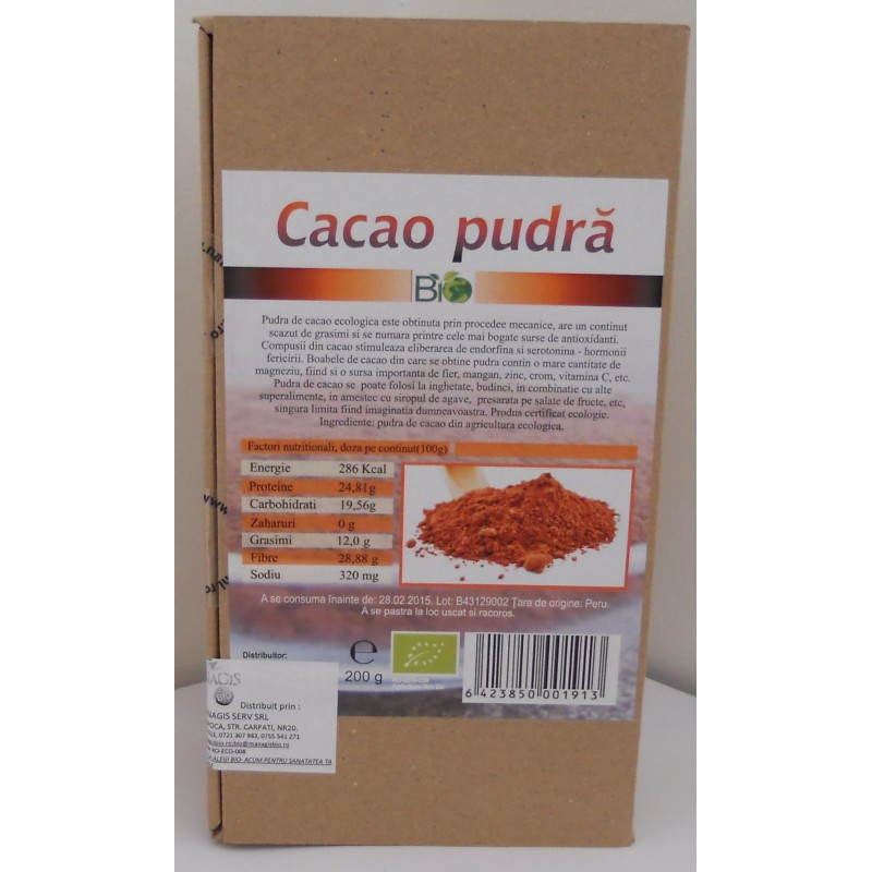 Cacao pudra bio (200g), Deco Italia