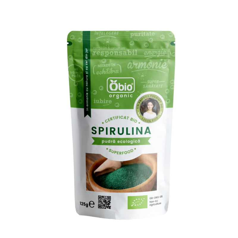 Spirulina pulbere raw bio China (125g), Obio