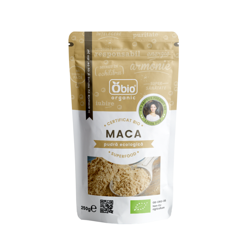 Maca pudra raw bio (250 grame), Obio