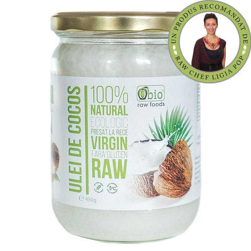Ulei de cocos virgin raw bio (450 gr), Obio