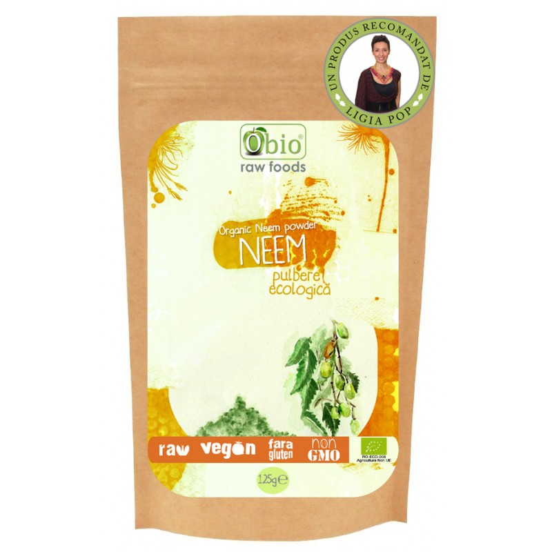 Neem pulbere raw bio (125g), Obio