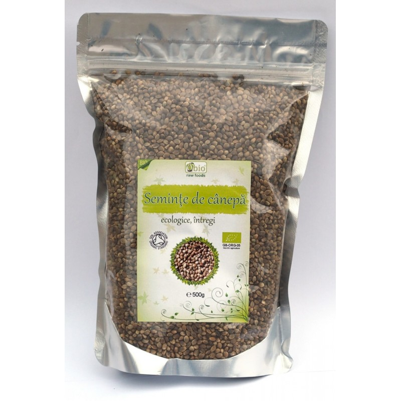 Seminte de canepa intregi raw bio (500g), Obio