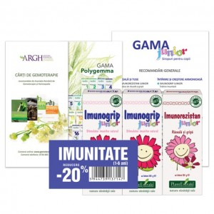 Pachet Promotional Imunitate copii ( 2 x Imunogrip Junior, 1 x Imunorezistan Junior), Plantextrakt