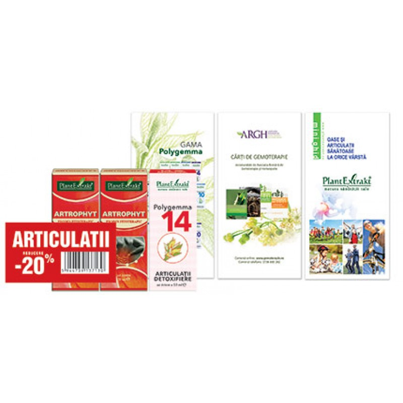 Pachet Promotional Detoxifiere Articulatii (2 x Artrophyt 50 ml + 1 x Polygemma 14) Plantextrakt