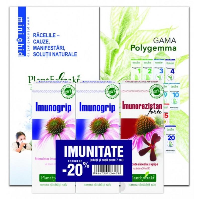 Pachet Promotional Imunitate adulti (2 x Imunogrip, 1 x Imunorezistan forte), Plantextrakt
