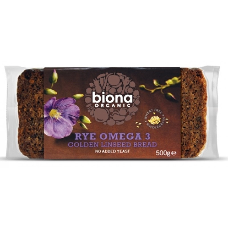Paine integrala de secara cu seminte de in bio 500 grame - fara drojdie-, Biona