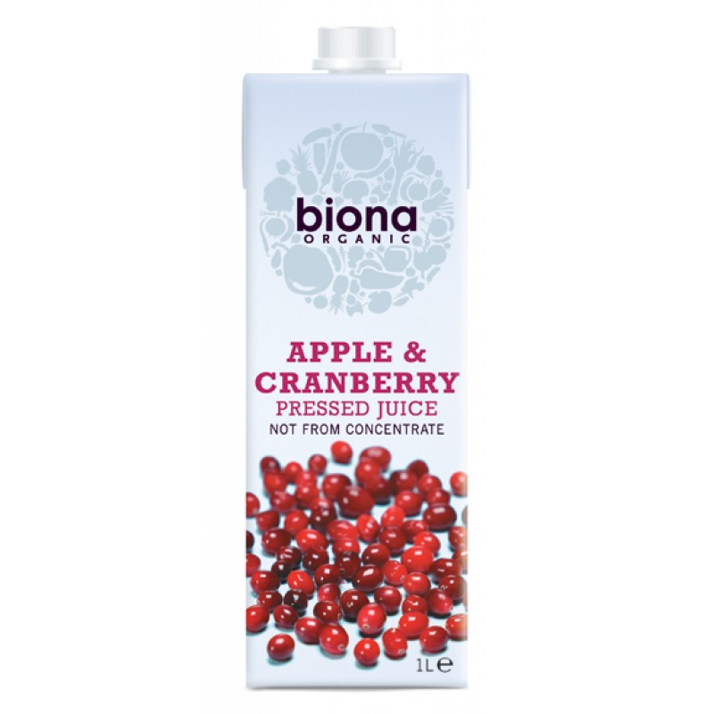 Suc de mere nefiltrat cu merisoare bio (1 litru), Biona