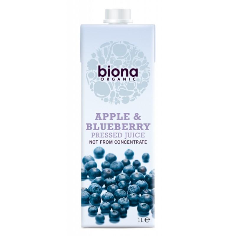 Suc de mere nefiltrat cu afine bio (1 litru), Biona