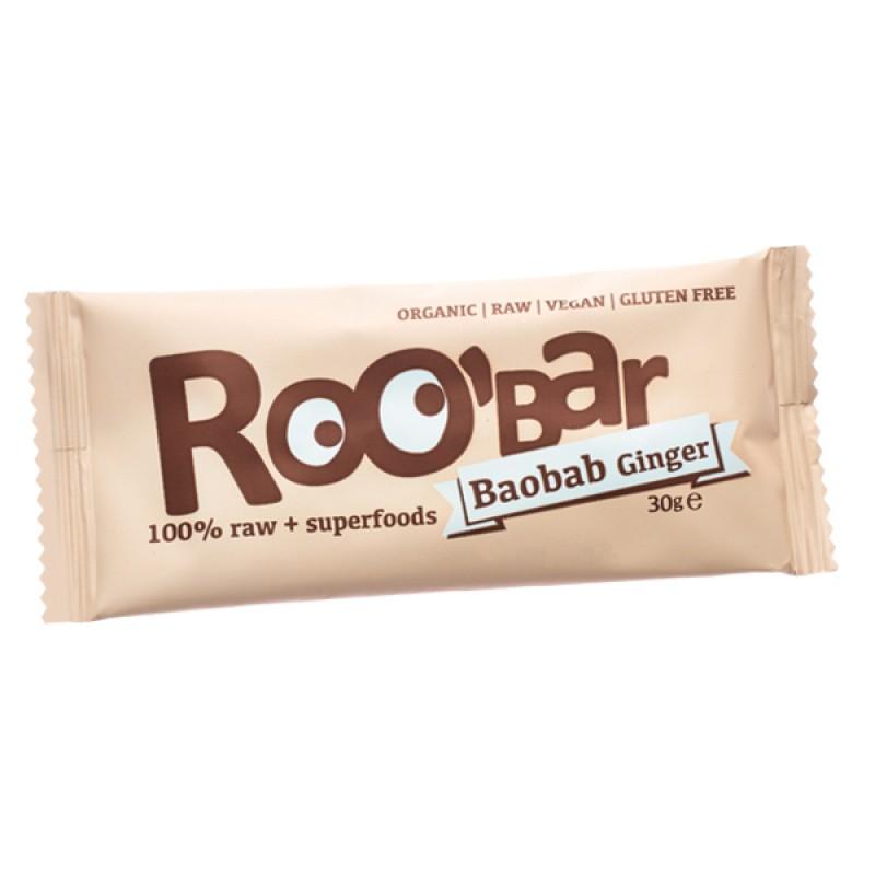 Baton raw bio cu baobab si ghimbir (30g), Roobar