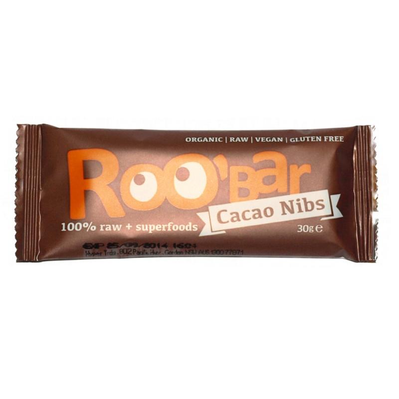 Baton raw bio cu miez de cacao si migdale (30 grame), Roobar