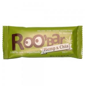 Baton raw bio cu seminte de chia si canepa (30g), Roobar