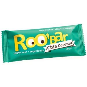 Baton raw bio cu seminte de chia si cocos (30g), Roobar
