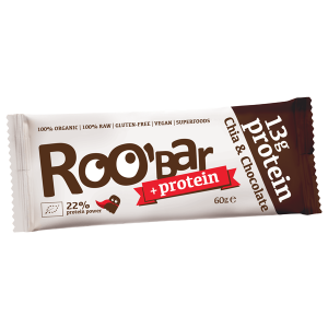 Baton proteic chia si ciocolata raw bio (60 grame), Roobar