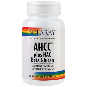 AHCC plus NAC & Beta glucan (30capsule), Solaray