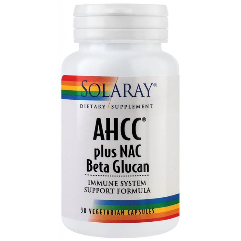 AHCC plus NAC & Beta glucan (30capsule), Solaray