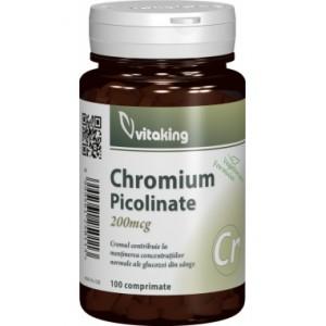 Picolinat de crom 200mcg (100 comprimate), Vitaking