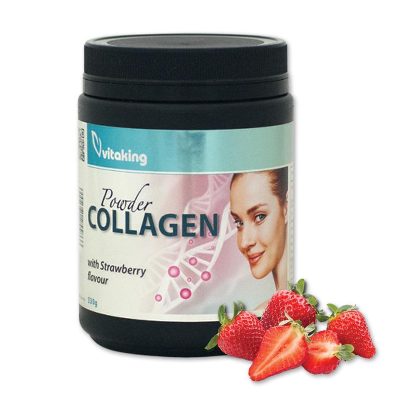 Colagen cu Vitamina C si aroma de capsune (330 grame), Vitaking