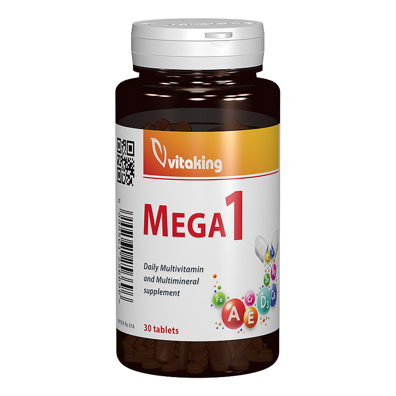 Multivitamina Mega 1 cu minerale si folat (30 comprimate), Vitaking