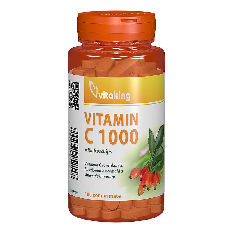 Vitamina C 1000 mg cu macese (100 comprimate), Vitaking