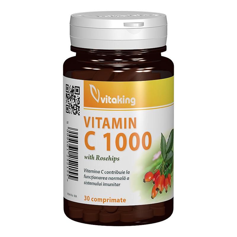 Vitamina C 1000 mg cu macese (30 comprimate), Vitaking