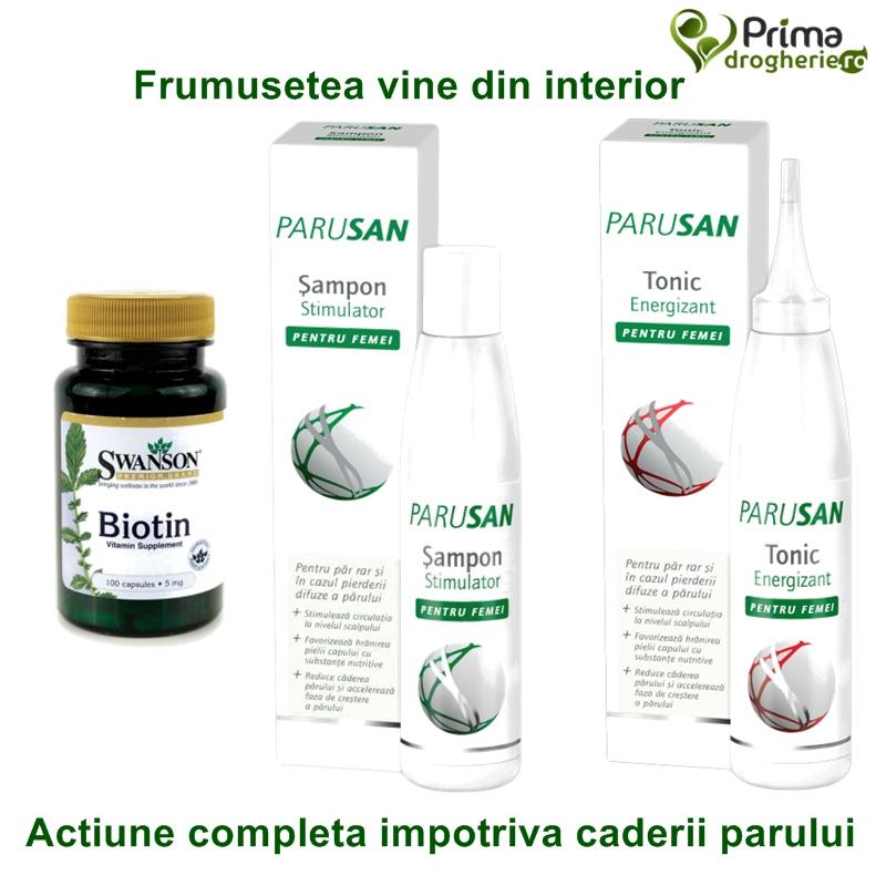 Pachet Parusan sampon si tonic + Biotin 5 mg (100 capsule), Swanson